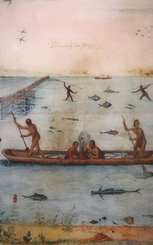John White illustration of Algonquian fishing techniques, 1585  National Park Service